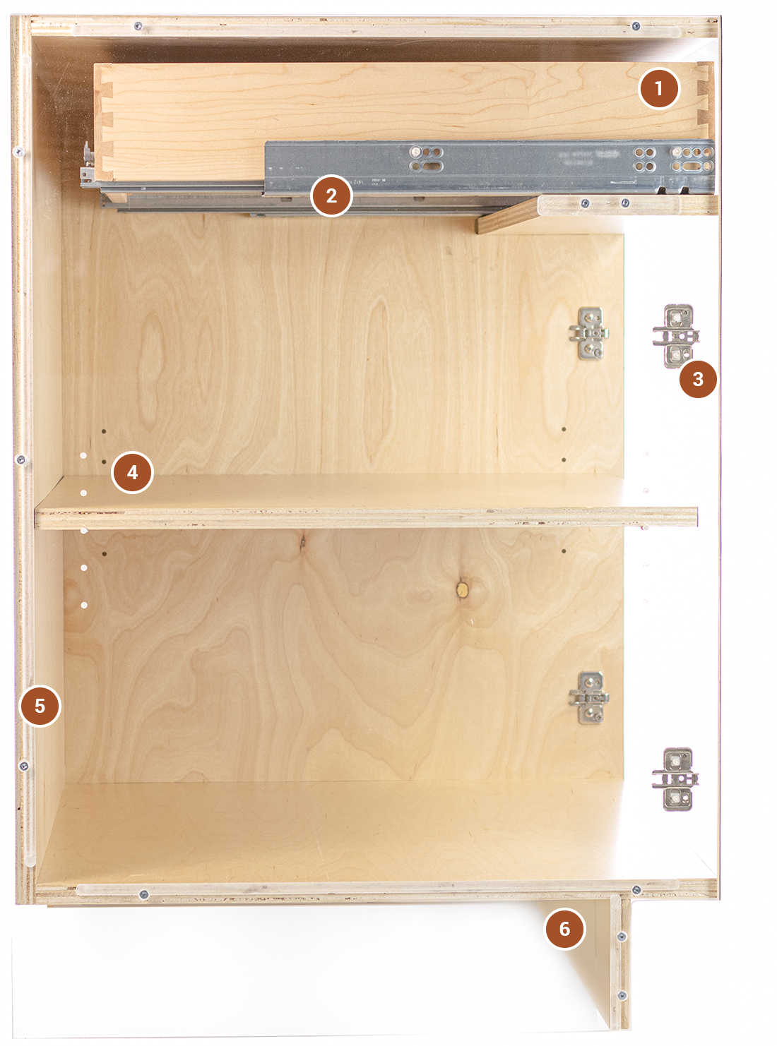 Side View of Clear Custom Cabinet